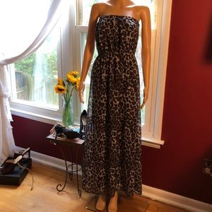 Strapless black and grey animal print maxi dress